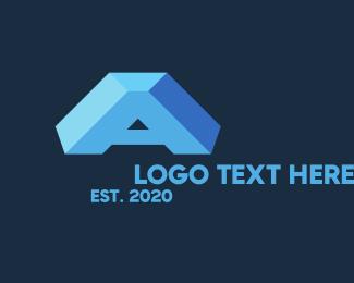 Block - Blue 3D Letter A logo design