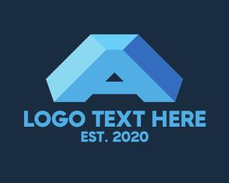 """""""Blue 3D Letter A"""" by Alexxx"""