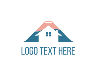 Cabin - Volcano House logo design