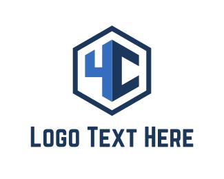 Number 4 - Blue Hexagon logo design