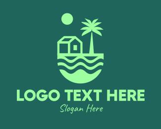 Oceanside - Green Beach House  logo design