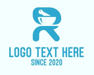Prescription Drugs - Blue Pharmacy Letter R logo design