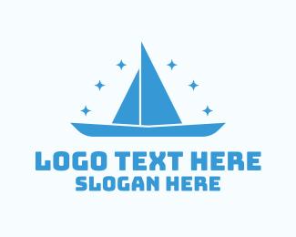 Boat - Blue Boat Stars logo design