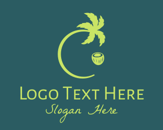 Island - Green Coconut Tree logo design