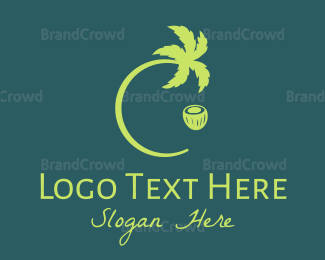 Coco - Green Coconut Tree logo design