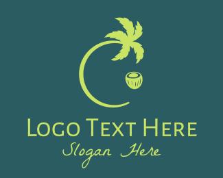 Island - Green Coconut Tree logo design
