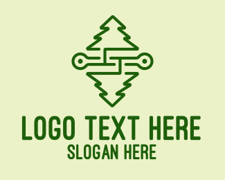 Roots - Symmetrical Pine Tree logo design