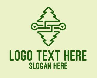 Pine - Symmetrical Pine Tree logo design