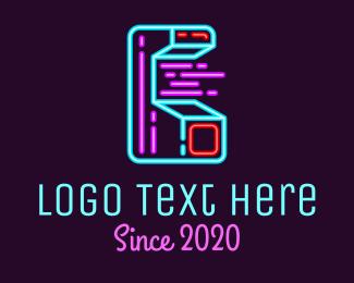 Programmer - Neon Arcade Game Machine logo design
