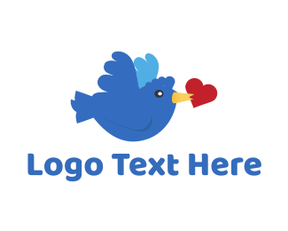Blue Heart - Bird Love logo design
