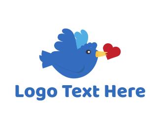 Twitter - Bird Love logo design