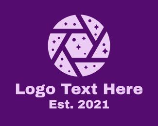 Negative Space - Purple Shutter Space logo design