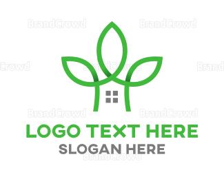 Healthy - Green Line Tree House logo design