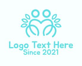 Together - Blue Outline Couple logo design