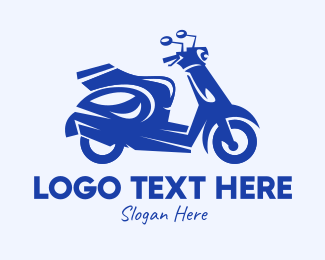 Riding - Blue Delivery Scooter logo design