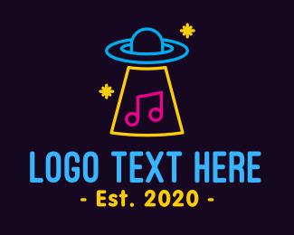 Music Stream - Neon Alien Music Lounge logo design