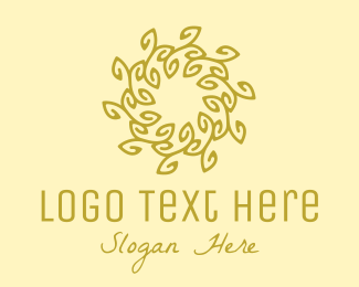 Meditate - Gold Organic Wreath logo design