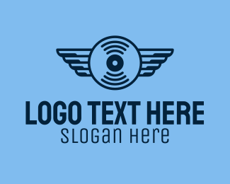 Vinyl - Vinyl Record Wings logo design
