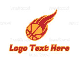 Meteor - Basketball Fire logo design