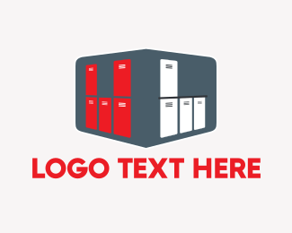 Room - Red & White Lockers logo design