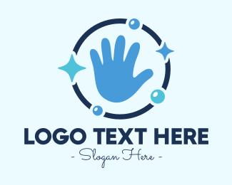 Sanitary - Blue Clean Hand logo design