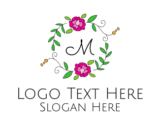 Flower Store - Floral Ornamental Wreath logo design