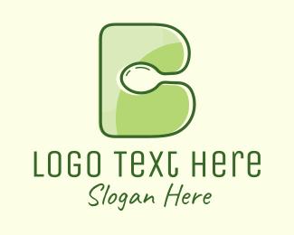 Spoon - Vegan Spoon Letter B logo design