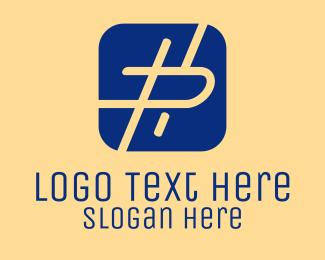 Hashtag - Letter P Mobile App  logo design