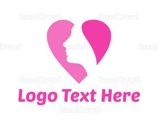 Dating - Heart Face logo design