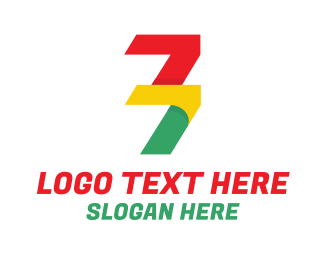 Math - Colorful Number 77 logo design