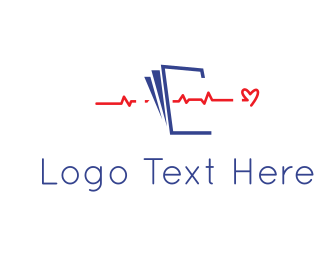 Blue Heart - Red Heartbeat logo design