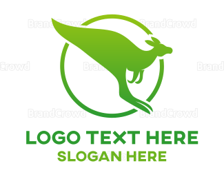 Jump - Green Kangaroo logo design