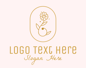Beauty Salon - Feminine Beauty Golden Flower  logo design
