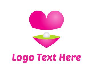 Treasure - Heart & Pearl logo design