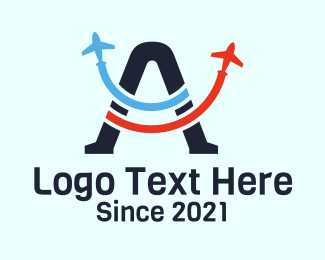 Jet Plane - Aviation Letter A  logo design