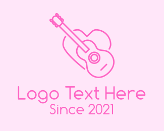 Music Lover - Pink Guitar Heart logo design