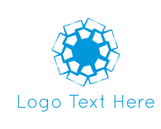 Abstract Blue Flower Logo