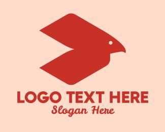 Bird Beak - Red Abstract Bird  logo design