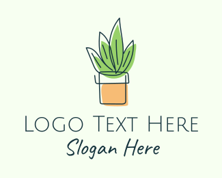 Ecofriendly - Simple Plant Line Art logo design