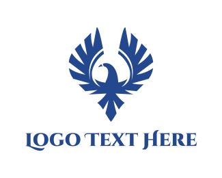 Military - Blue Wild Falcon logo design