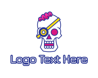 Band - Modern Punk Skull logo design