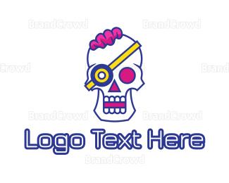 Hacker - Modern Punk Skull logo design