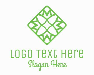 Interior Decoration - Green Flower Tile logo design