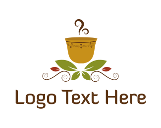 Latte - Hot Cup & Leaves  logo design