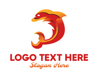 Red Fire - Fire Dolphin logo design