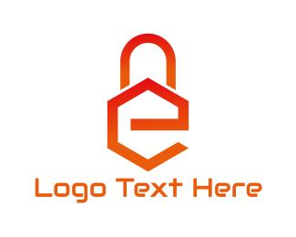 Burglar - E Lock logo design