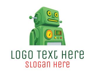 Chatbot - Green Retro Bot logo design