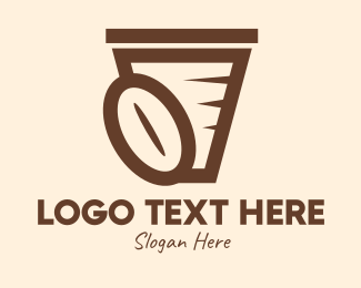 Roasted - Coffee Bean Cup logo design