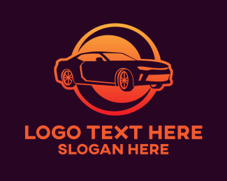 Sedan - Orange Sedan Car logo design