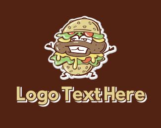 Food Cart - Burger Stand Mascot logo design